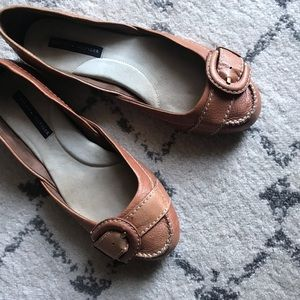 Tommy Hilfiger Tan Brown Leather Slip On Flats 7